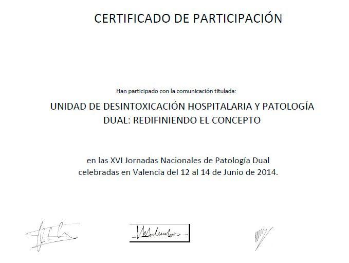 certificado participacion unidad de desintoxicacion hospitalaria y patologia dual: redifiniendo el concepto