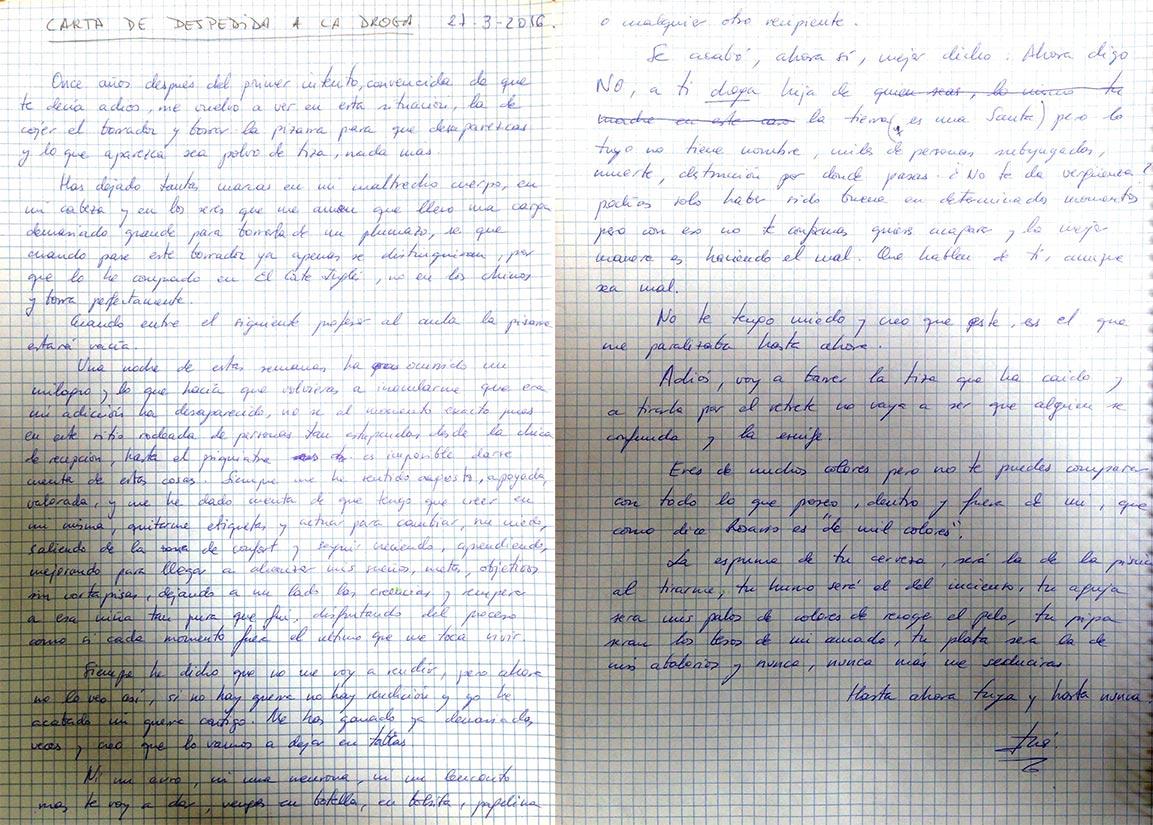 Carta de despedida a la droga