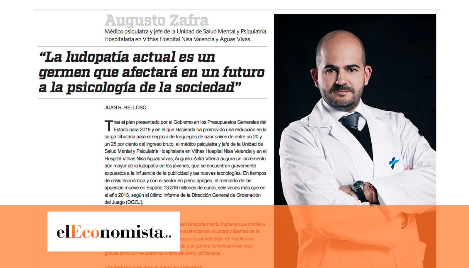 Entrevista elEconomista al Dr. Augusto Zafra sobre la ludopatía
