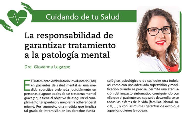 La responsabilidad de garantizar tratamiento a la patología mental